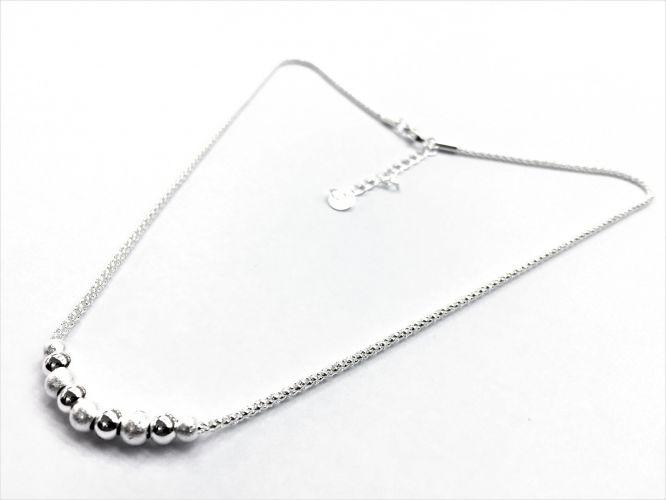 bc85d3aa3381 Collar De Acero Blanco Cordon Con Bolitas